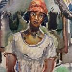 "Toni Farwick ""Mexikanerin vor der Hütte"", Aquarell um 1929"