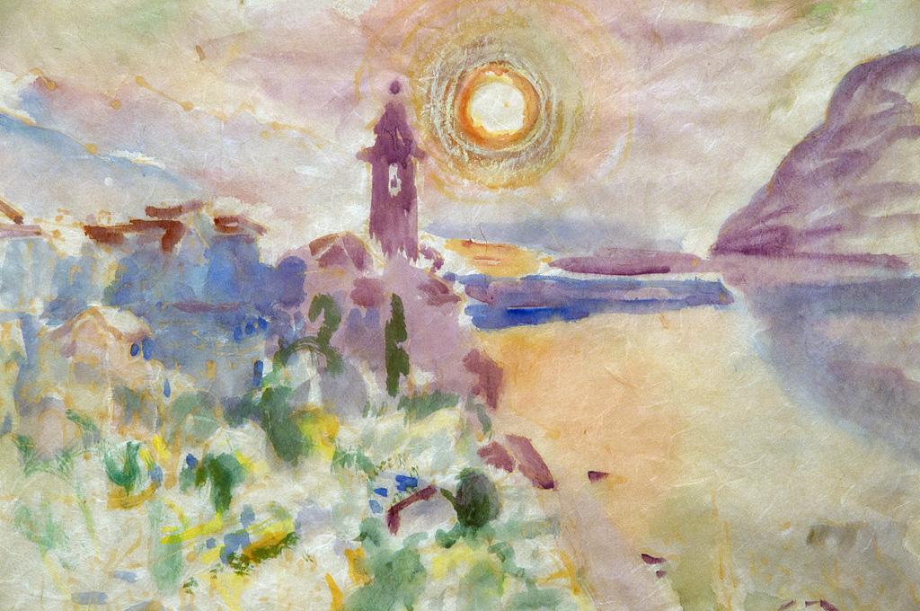 """Toni Farwick """"Sonnenaufgang am See"""", Aquarell 1963"""